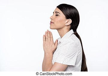 Deus, mulher, orando, acreditar