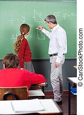 schoolgirl, matemática, adolescente,  professor, ensinando