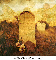 Tombstone and Souls - Old western tombstone with textures...