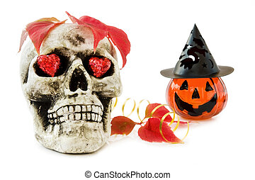 Halloween love with scary skull and sparkling red hearts....