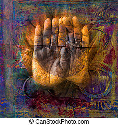 Sacred Hands - Gilded hands in open palm mudra. Photo based...