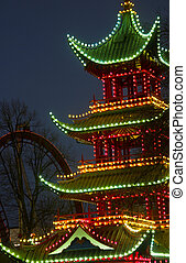 Christmas at the Tivoli in Copenhagen at night. The chinese...