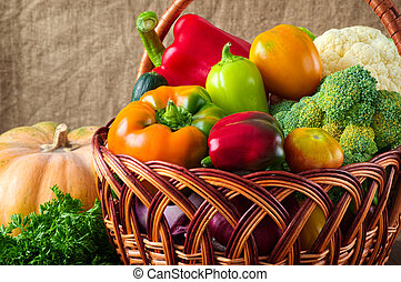 organic food background. Vegetables in the basket - organic...