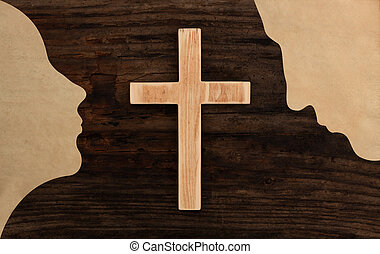christian couple pray concept cross wooden silhouette paper...