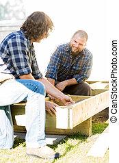 測量, 木制, 框架, 同事, 木匠, 它, 看, 當時