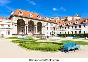 Valdstejnska Garden and Prague Castle, Prague, Czech...