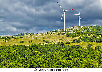 Wind power plant turbines on Velebit mountain, Croatia
