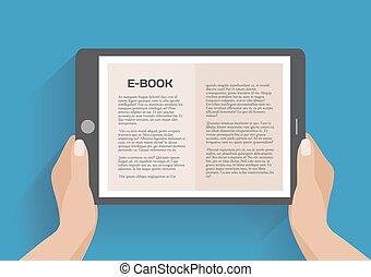 Hands holding electronic book, flat design concept Using...