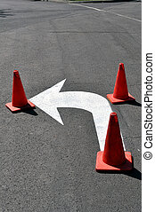 Left turn sign - Left turn sign with cones, fresh paint