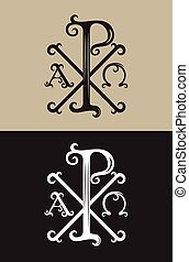 PX alpha and omega, art vector font sign symbol design