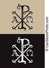 PX alpha and omega, art vector font sign symbol design