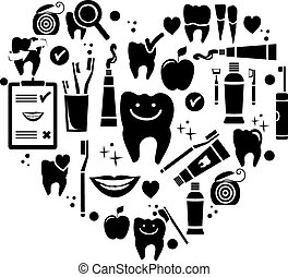 Dental care symbols in the shape of heart. Vector...