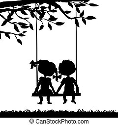 Silhouettes of boy and girl - Silhouettes of a boy and a...