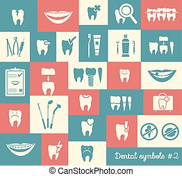 Set of dentistry symbols, part 2. Dental tools etc.