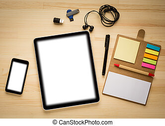 Digital tablet computer with social networks concept...