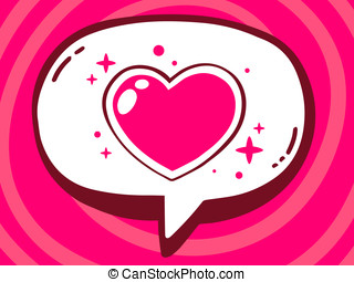 illustration of speech bubble with icon of heart on pink...