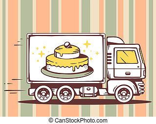 illustration of truck free and fast delivering cake to cu -...