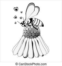 ape su margherita - ape stilizzata sdraiata su una...