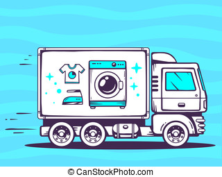 illustration of truck free and fast delivering washing...