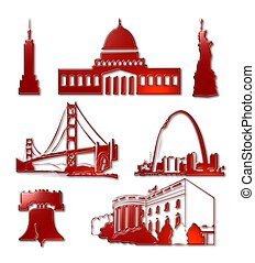 US Landmark Icons - A 3D red metallic assembly of US...