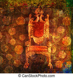Empty Throne - Empty throne with pattern of dots. Photo...