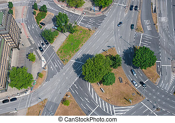 Road junction - Aerial view on road junction in Hamburg