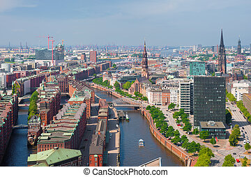 Hamburg in summer - Aerial view of Hamburg and port in...