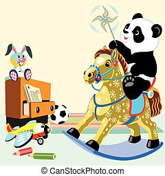 cartoon panda in playroom - cartoon panda bear riding a...