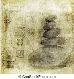 Stones and Chinese Seals - Stones stacked with Asian seals...