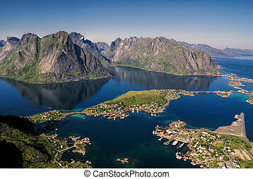 Reine - Beautiful aerial view of town Reine and surrounding...