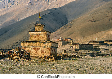 Buddhist shrine - Scenic old buddhist shrine in Himalayas...