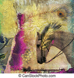 White Horse - White horse photo based mixed medium collage.