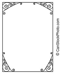 forged openwork metal abstract black frame ornamental...