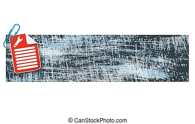 banner with scratches background and document and spanner