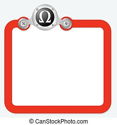 red frame for text and omega symbol