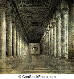 Inner Vision - Eye at the end of Roman columns. Photo based...