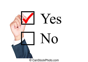 say yes tick mark on checkbox by businessman draw on...