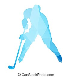 Abstract isolated hockey player