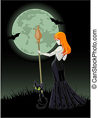 Halloween witch - Beautiful Halloween witch holding a broom...