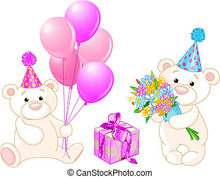 Teddy Bears with birthday staff. Vector Illustration