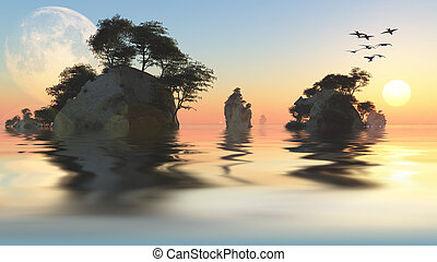 Sunrise or set with moon and rocky islets