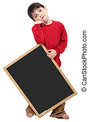 School Boy Blank Sign with Clipping Path
