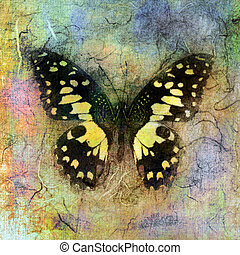 Yellow Butterfly - Mixed medium illustration of a butterfly....