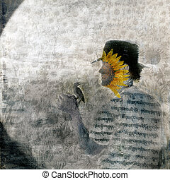 Gnosis - Mystical sunflower man and bird in the garden Photo...