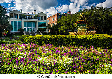 Garden and the Pineapple Fountain at the Waterfront Park in...