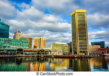 Buildings at the Inner Harbor, in Baltimore, Maryland.