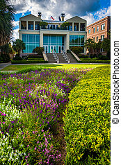 Garden and buildings at the Waterfront Park in Charleston,...