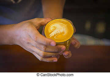 coffee - Latte art coffee rosetta tehcnician by Barista