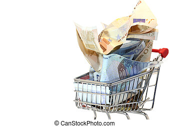 shopping cart full of crumpled euro money - european...