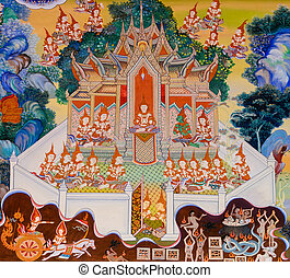 Buddhist temple mural painting in Samut Sakhon, Thailand